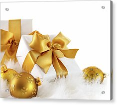 Gold Ribboned Gifts With Christmas Balls  Acrylic Print by Sandra Cunningham