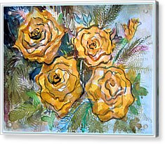 Gold Roses Acrylic Print by Mindy Newman