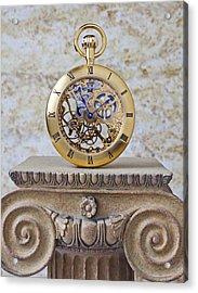 Gold Skeleton Pocket Watch Acrylic Print by Garry Gay