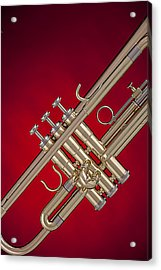 Gold Trumpet Isolated On Red Acrylic Print
