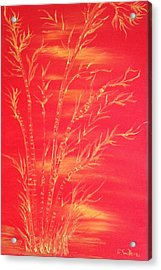 Golden Bamboo 2 Acrylic Print by Pretchill Smith
