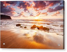 Golden Beach Acrylic Print by Evgeni Dinev