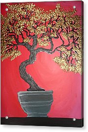 Golden Bonsai Acrylic Print by Silvia Louro