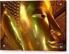 Golden Face Of Buddha Acrylic Print by Bob Christopher