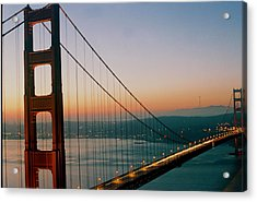 Golden Gate Blue Acrylic Print by Trent Mallett