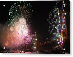 Golden Gate Bridge 75th Anniversary Fireworks Acrylic Print by Michael Meinberg