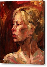 Golden Hair Portrait Of Woman Head In Crimson Yellow Hardworking Fieldworker Mother Whos Thoughtful Acrylic Print