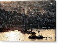 Golden Haze In Istanbul Acrylic Print by John Rizzuto