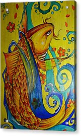 Acrylic Print featuring the painting Golden Koi by Sandro Ramani
