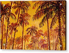Acrylic Print featuring the painting Golden Palm Trees by Lou Ann Bagnall