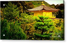 Golden Pavilion Temple In Kyoto Glowing In The Garden Acrylic Print by Andy Smy