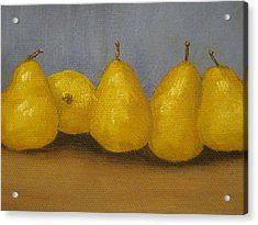 Golden Pears With Blue Acrylic Print by Patricia Cleasby