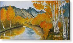 Golden Serenity Acrylic Print by Jindra Noewi