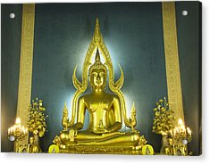 Golden Sitting Buddha Acrylic Print by Gloria and Richard Maschmeyer