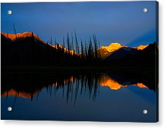 Golden Sunrise With Blue Background On Vermillion Lake Acrylic Print by Hegde Photos