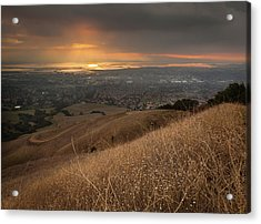 Golden Sunset Over San Francisco Bay Acrylic Print by Sean Duan