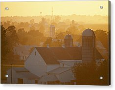 Golden Twilight Upon The Silos And Farm Acrylic Print by Michael S. Lewis
