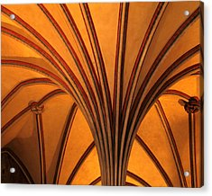 Golden Vaulted Ceiling In Malbork Castle II Acrylic Print by Greg Matchick