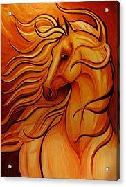 Golden Windblown Horse Acrylic Print by Leni Tarleton