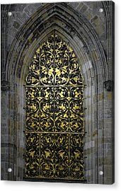 Golden Window - St Vitus Cathedral Prague Acrylic Print by Christine Till