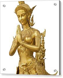 Goldent Ginnaree Statue Art Acrylic Print by Anek Suwannaphoom
