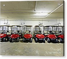 Golf Cart Parking Garage Acrylic Print by Skip Nall