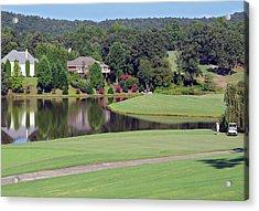 Golfer At Lake  Acrylic Print by Susan Leggett