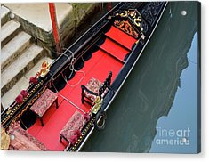 Gondola By Wharf Acrylic Print by Sami Sarkis