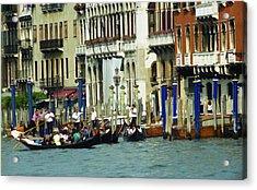 Gondolas In Venice Acrylic Print by Emanuel Tanjala