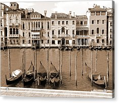 Acrylic Print featuring the photograph Gondolas Outside Salute by Donna Corless