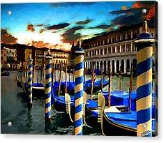 Gondolas Under A Summer Sunset Acrylic Print by Jann Paxton
