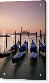 Gondolas With View Of San Giorgio Acrylic Print by Jim Richardson