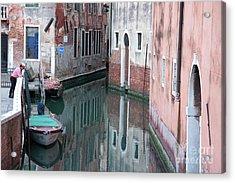Gondolier Overlooking Rio De S. Anzolo Venice Italy Acrylic Print by Julia Hiebaum
