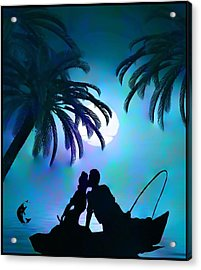 Acrylic Print featuring the digital art Gone Fishing by Mary Morawska