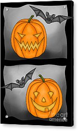 Good Pumpkin - Bad Pumpkin Acrylic Print by Claudia Pflicke