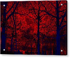 Gothic Red And Blue Surreal Fantasy Trees Acrylic Print by Kathy Fornal