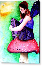 Gothic Teenage Fairy Acrylic Print by Amanda Pillet