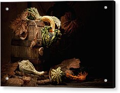 Gourds And Leaves Still Life Acrylic Print by Tom Mc Nemar