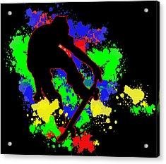 Graffiti Paint Splotches Skateboarder Acrylic Print by Elaine Plesser