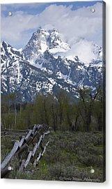 Grand Teton Fence Acrylic Print by Charles Warren