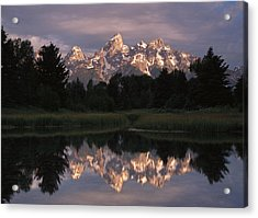 Grand Teton Range And Cloudy Sky Acrylic Print by Tim Fitzharris