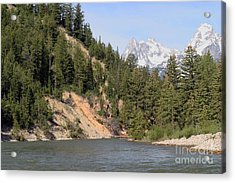 Acrylic Print featuring the photograph Grand Tetons From Snake River by Living Color Photography Lorraine Lynch
