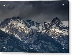 Grand Tetons Immersed In Clouds Acrylic Print by Greg Nyquist