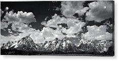 Grand Tetons Panorama In Monochrome Acrylic Print by Ellen Heaverlo