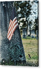 gravestone with the Sons of the Revolution grave ma Acrylic Print by HD Connelly