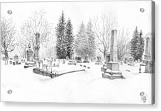 Graveyard In The Snow Acrylic Print