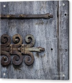 Gray Wooden Doors With Ornamental Hinge Acrylic Print by Agnieszka Kubica