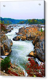 Great Falls On The Potomac River In Virginia Acrylic Print by Eva Kaufman
