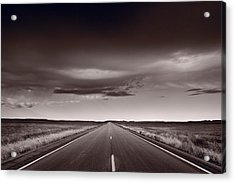 Great Plains Road Trip Bw Acrylic Print