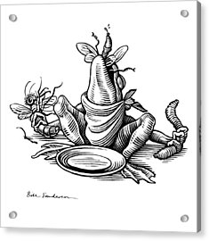 Greedy Frog, Conceptual Artwork Acrylic Print by Bill Sanderson
